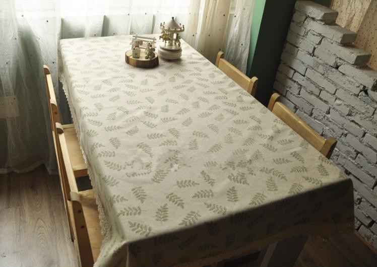 Pastoral Style Linen Tablecloth Leave Pattern Table Cloth Zakka Tablecloths For Picnic And Home Decoration # 85(China (Mainland))