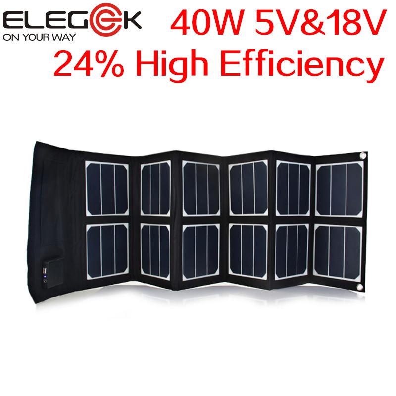 ELEGEEK 40W 5V/12V-18V Folding solar panel Portable USB DC Sunpower Panel High Efficiency Solar Panel Charger for Laptop & Phone(China (Mainland))