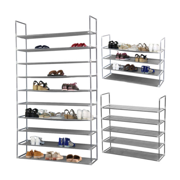 50 Pair 10 Tier Space Saving Storage Organizer Free Standing Shoe Tower Rack Space Saving Organiser Storage Unit Shelves Black(China (Mainland))