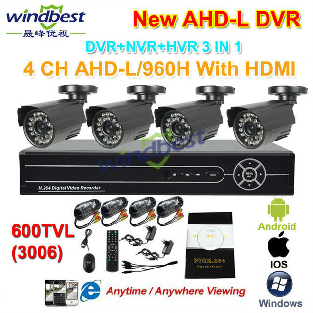 DHL Freeshipping 4CH 960H AHD-L 1080P HDMI DVR/NVR 600TVL Outdoor Waterproof CCTV Camera Home Security Surveillance Kit System