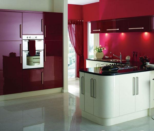 Purplish red and white lacquer kitchen cabinet(China (Mainland))