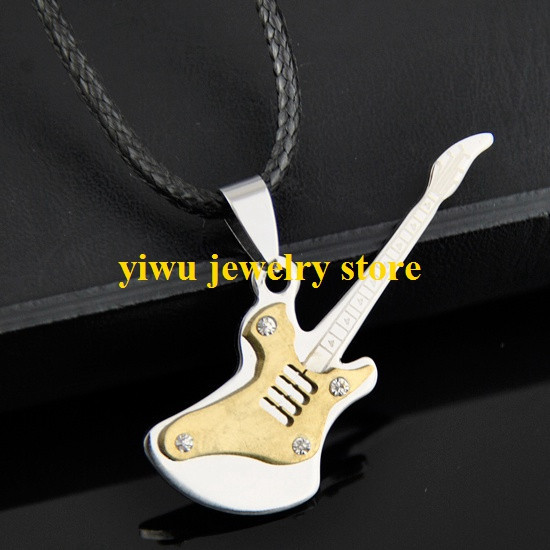Stainless steel electric guitar golden pendant necklace ST05(China (Mainland))