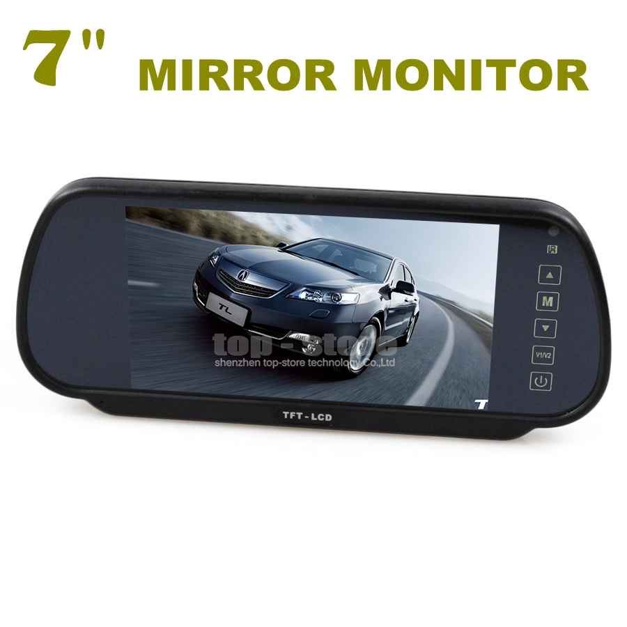 7 Inch TFT LCD Display Rear View Car Mirror Monitor With 2 Video Input For Car CCD Camera Cam / DVD(China (Mainland))