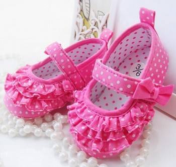 New Arrival 2015 Fashion Dot Cake Fold Princess Shoes Printing Bowknot Baby Girls Shoes Toddler Dance Shoes 5501