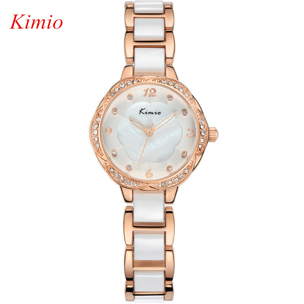 (Sihai) TOP watch 2016 New Fashion Quartz Watch KIMIO Brand Luxury Crystal Diamonds Ceramic Rose gold Watches Women Reloj mujer(China (Mainland))