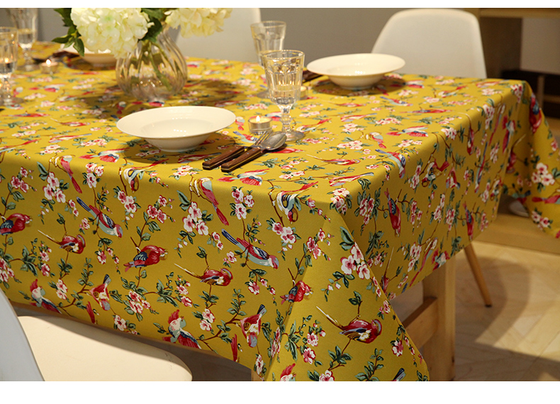 Free shipping country style table cloth printed cotton fabric garden flower(China (Mainland))