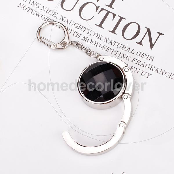 Round Folding Purse Handbag Hanger Table Hook Holder Keychain Gift -Black(China (Mainland))