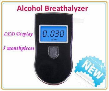 New Arrival Free Shipping AT-818 Digital Alcohol Detector With Mouthpiece LCD Display Personal Alcohol Breathalyzer