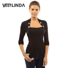 VESTLINDA Women T Shirt Tops Fall Tee Shirt Buttons Long Sleeve Ladies Shirts Knitted Femme Blusas Women Plus Size Black T-Shirt(China (Mainland))