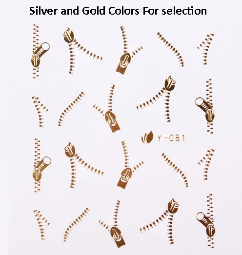 Nail Art Wraps Water Transfer   Metallic Gold Silver Zip Zipper Nail Decals 100 Sheets/Lot  Free Shipping
