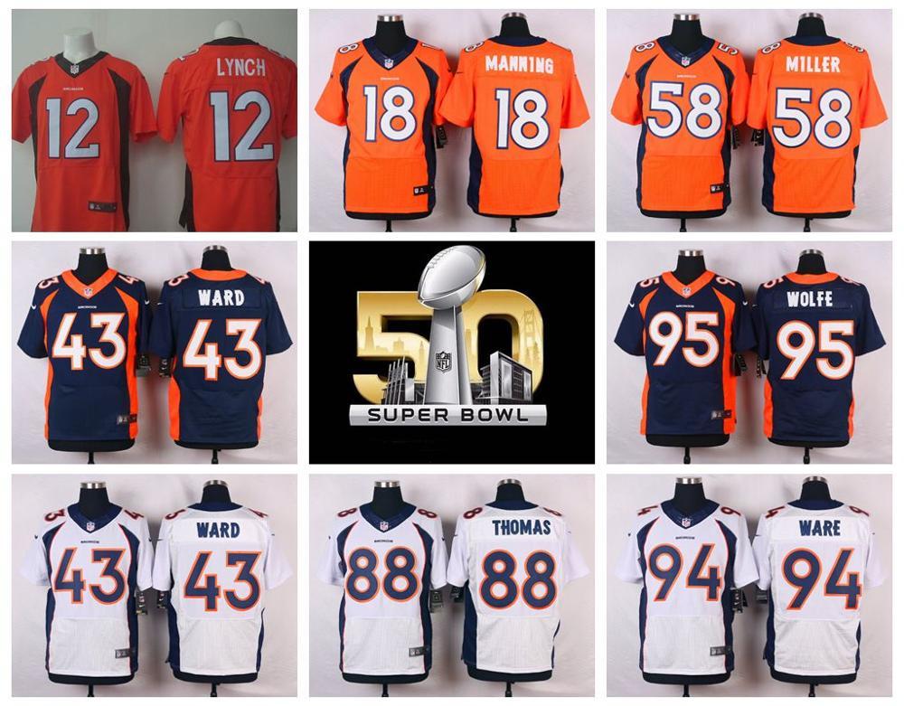 Denver Broncos Peyton Manning,Von Miller,DeMarcus Ware,Demaryius Thomas,Derek Wolfe,Paxton Lynch with the 50th SB patch(China (Mainland))