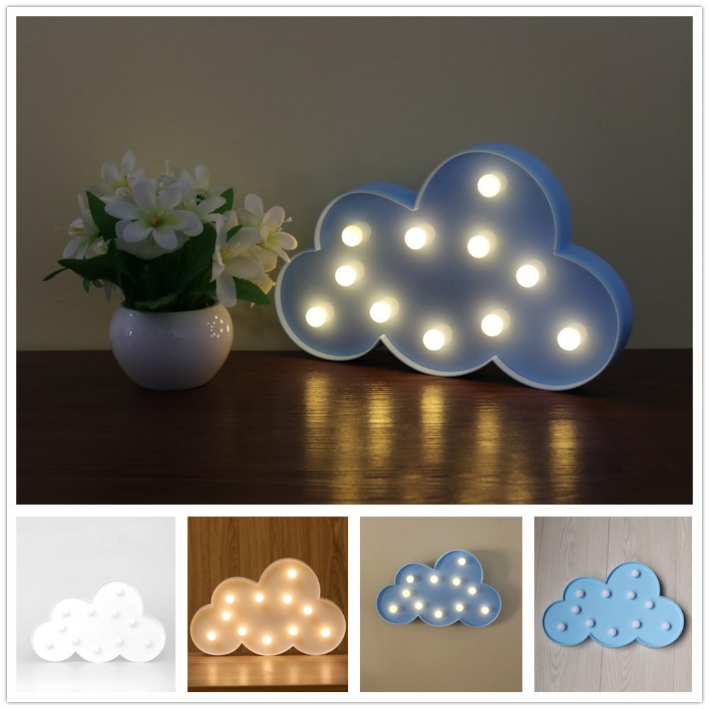 11 LED White Cloud Letter light For Christmas Decoration Kid's Gift Light Up 3D Marquee Night light Lamp Battery operated(China (Mainland))