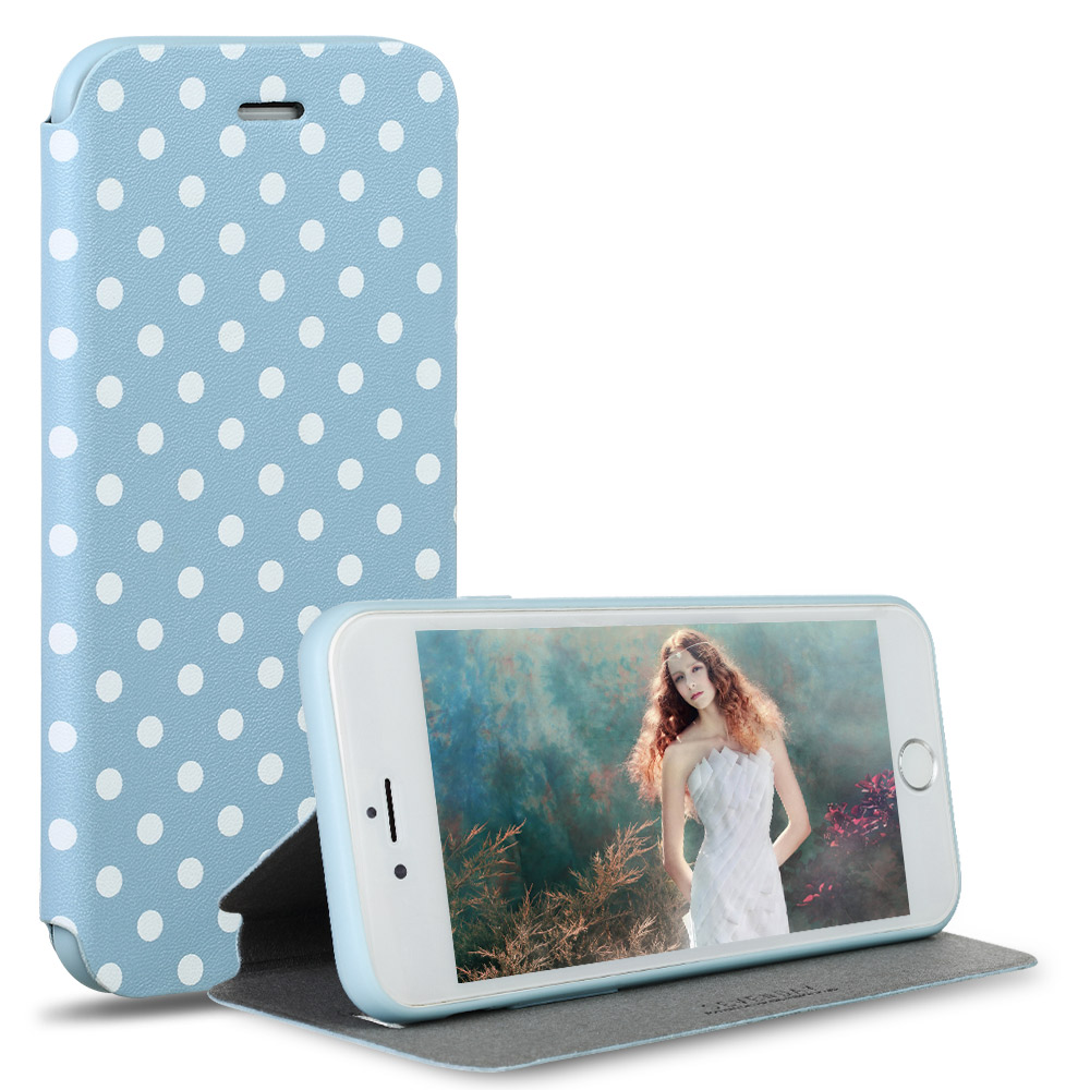 For iPhone 6 Polka Dot PU Leather Case Flip Phone Case For iPhone 6s 4.7inch Luxury Stand Case Cover(China (Mainland))
