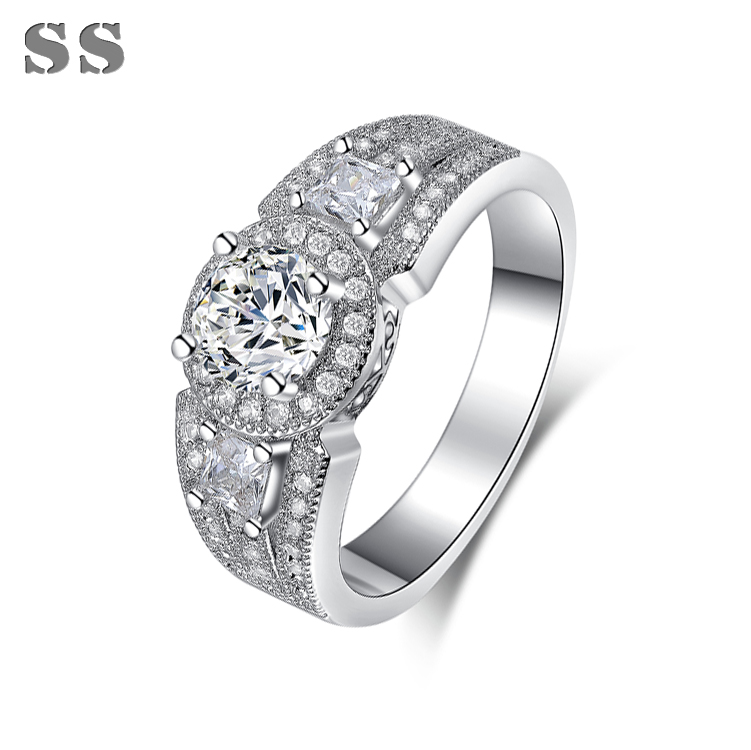 2015 hot sale Platinum Plated jewelry rings for women charms fashion popular