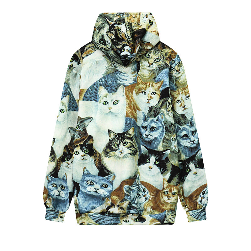 Newest 3D Print Cartoon Cat Graphic Hoodies Casual Loose Pullovers Fahsion Sweatshirts Sudaderas Hip Hop Streetwear Tops Outfits