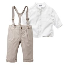 New Autumn Kids Boy Clothes Set Long Sleeve Tops + Long Suspender Trousers 5 Sizes(China (Mainland))