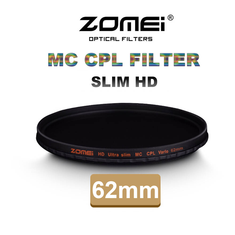 Zomei 62mm CPL Ultra Slim HD 18 Layer MC Multi-Coated SCHOTT Glass Polarizing Filter for Canon NIkon Hoya Sony Camera Lens 62 mm(China (Mainland))