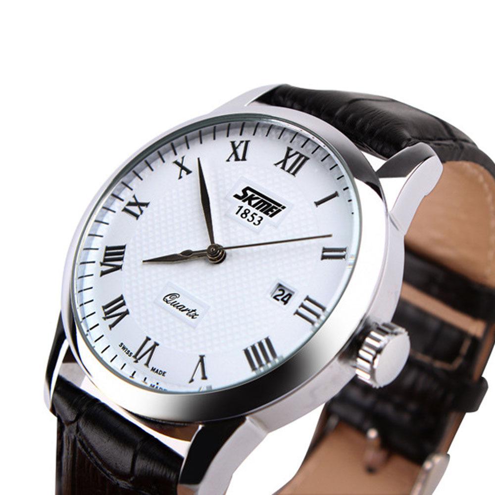 High Quality Fashion Brand Genuine Leather Band Men Quartz Watcvh Analog Dress Watches For Men 10M