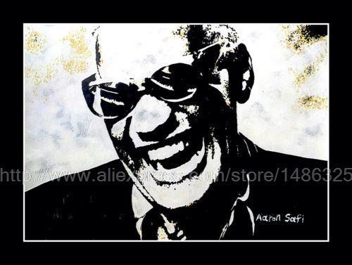 Ray Charles In Palette Knife Oil Painting Blues Jazz Music Wall Art Decoration For Coffee Bar Bed Headboard Canvas Art Flower(China (Mainland))