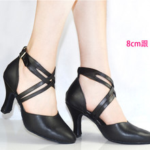 new 2015 women shoe in genuine leather dance shoes black close toe women latin salsa shoes high ballroom shoes for ladies 6401(China (Mainland))