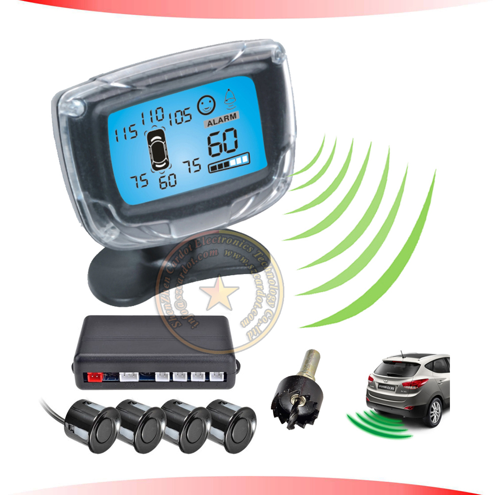 russian product wireless LCD parking sensor,buzzer alarm and numeral distance indication,0.3-1.8M distance detection,CE passed(China (Mainland))