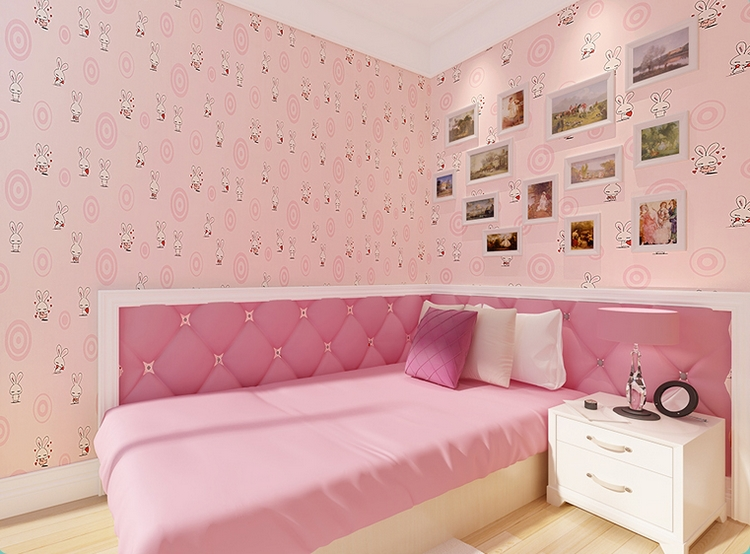 sweet pink color white rabit wallpaper for girls room kids