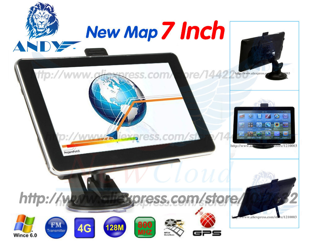 7 inch Car GPS Navigator 800MHZ DDR3 128MB CE6.0 FM MP3 Russia belarus Spain France Ukraine 2016 New map(China (Mainland))