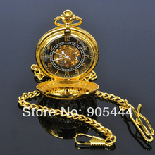 New Gold Flower Type Analog Selekton Mens Hand Winding Mechanical Pocket Watch W015