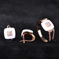 CZ Rose Gold Plated Copper Ring Earring Ceramic Jewelry Sets For Women Blucome Brand New Wedding