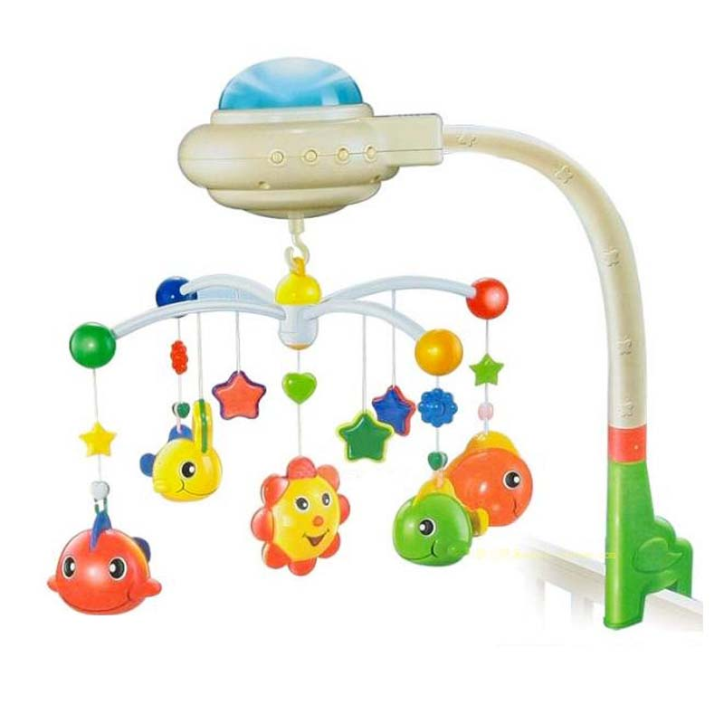 Free shipping Baby Music Toys Musical Mobile Babi Bed Bell Hanging Toy With Sky Star Projection(China (Mainland))