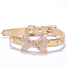 Buy Pet Supplies Necklace Bling Rhinestone Collars Small Dogs Cat Perro Mascotas Adjustable PU Leather Dog Collar Puppy Animal for $1.89 in AliExpress store