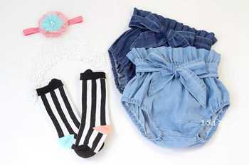 New 2016 Summer Fashion Girls waist fold Denim Short Jeans Pants Baby Casual Trousers Kids Shorts Children's Clothing with a bow