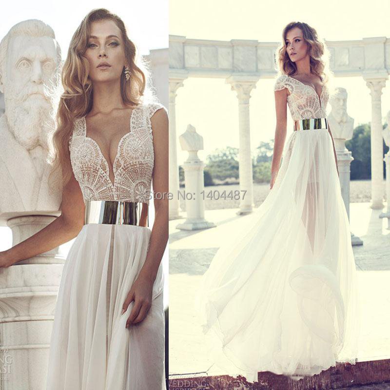 2015 Sexy Long White Prom Dresses Gold Metal Belt Chiffon Beading V Neck Cap Sleeve Side Slit Vestido De Baile Custom Made - ModaBelle Bridal store