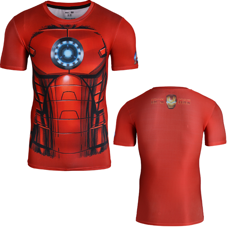Superman Tights With Short Sleeves Super Elastic and Sweat Men T-shirt Fashion Iron Man Summer Tops O-neck Marvel Stereo Tees(China (Mainland))