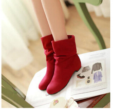 2015 autumn and winter velvet boots scrub women's martin boots shoes spring and autumn boots female cotton boots low thick heel
