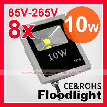 8pcs/lot  Advertising lamp 85-265V 10W Landscape Lighting IP66 LED Flood Light Floodlight LED street Lamp Free Shipping