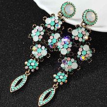 Green White Pink Opalescence Glass Earring Women's Fashion Earrings New arrival brand sweet metal with gems stud for women girls(China (Mainland))