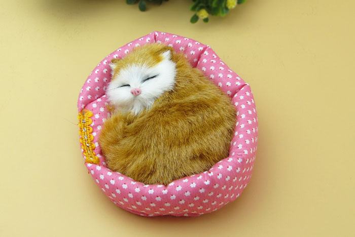 Simulation mini 13cm sleeping cat with mat ,model toy polyethylene&furs Resin handicraft,props decoration gift A1414(China (Mainland))
