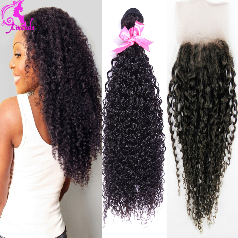 Mongolian Kinky Curly Hair With Closure 3 Bundles With Closure Mongolian Afro Kinky Curly Virgin Hair Lace Closure Rosa Hair