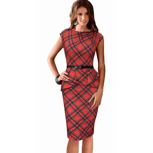 eSale New Womens Vintage Elegant Belted Tartan Peplum Cap Sleeve Ruched Tunic Work Party Bodycon Sheath Pencil Dress CG114(China (Mainland))