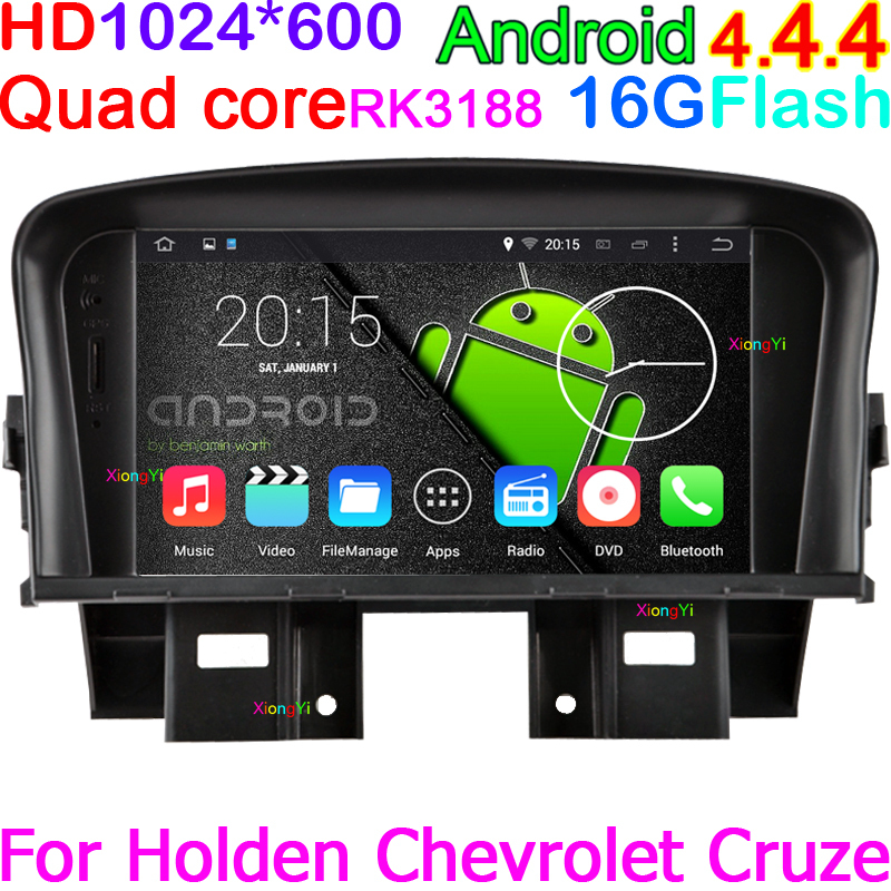 Quad Core Android4.4.4 Car Navi GPS Stereo Audio DVD for chevrolet cruze Holden with WIFI Radio DVR OBD 3G BT 1024*600 HD TV(China (Mainland))