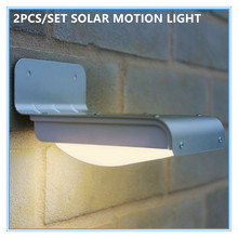 2pcs/set 16 LED Solar Garden Lamp Waterproof Outdoor Light Optical And Motion Sensor Wall Mount Lighting Luz Lampara(China (Mainland))