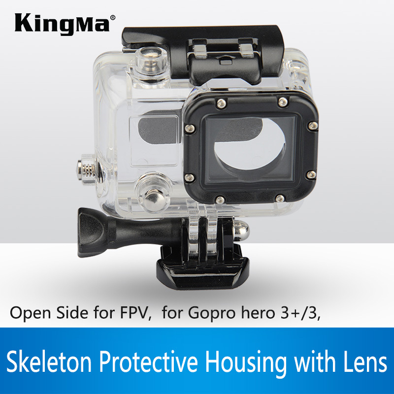 KingMa Free shipping Skeleton Protective Housing case with lens Side-opening for GoPro Hero 3+/3/4(China (Mainland))