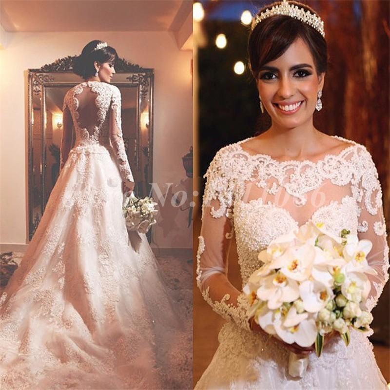 Vintage Lace Long Sleeve Muslim Wedding Dress 2016 A-Line Appliques Beading Vestido De Noiva Gowns - FLD Dresses store