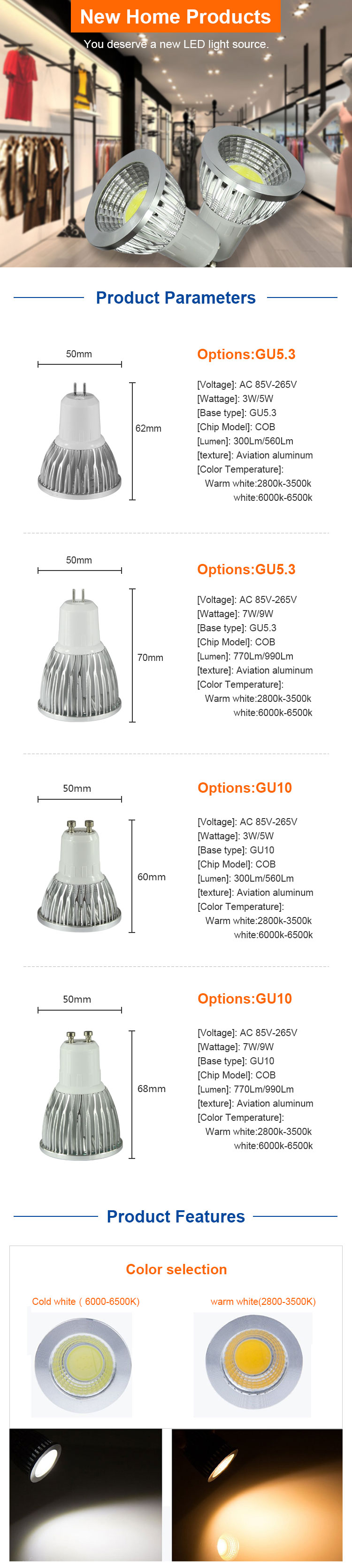 led the reflector gu10 3 w 5 w 7W 9W 85 to 265 v lamp led lamp 220 v gu5.3 commercial candle luz led light bulbs mr16 lighting