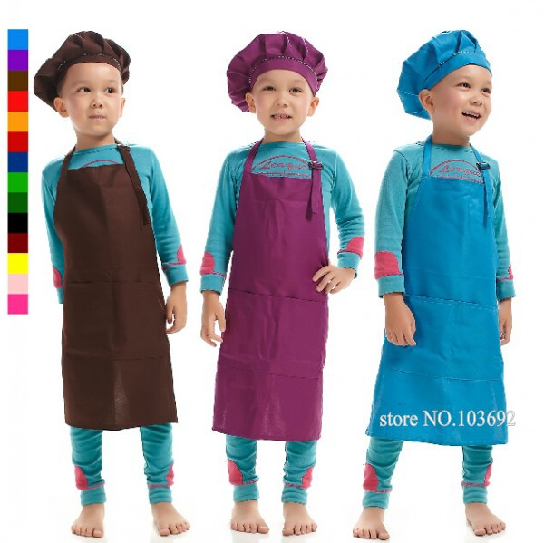 Candy color new set kids apron including kids chef hats and apron kids painting apron solid brief children kitchen baking apron(China (Mainland))