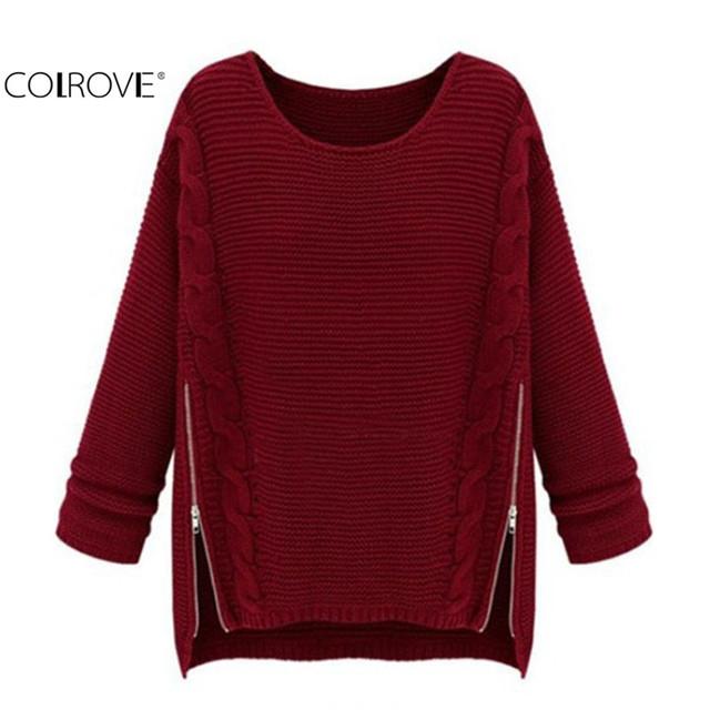 Colrove 2016 весна женщины свитера дизайнер мода вязание женский пуловеры свободного ...
