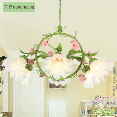 Free shipping Pastoral modern minimalist style lamp living room bedroom restaurant light LED E14*6 flower chandelier Christmas(China (Mainland))