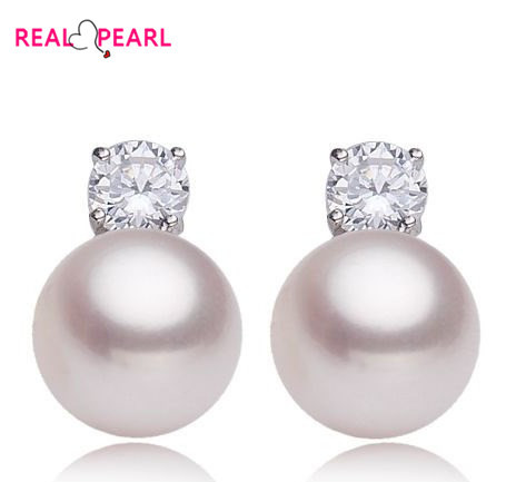 REAL PEARL 925 Sterling Silver Pearl earrings Exquisite Fashion Pearl Jewelry Cheap Nice Gift 4 Color(China (Mainland))
