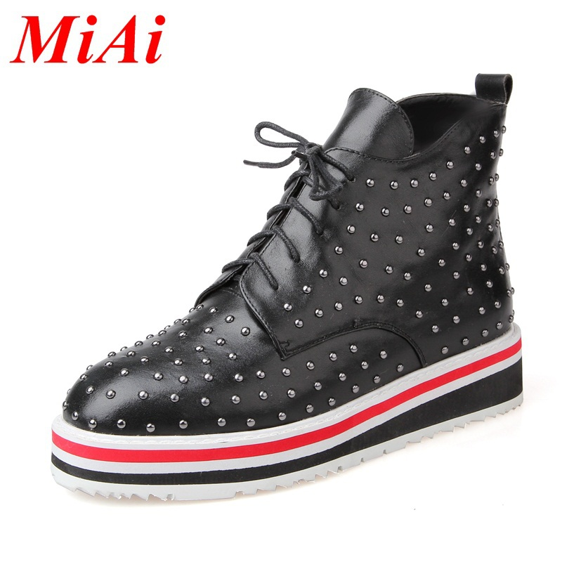 2015 new fashion ankle boots real leather square toe lace up casual boots women wedge heel ankle boots black winter boots 34-39<br><br>Aliexpress